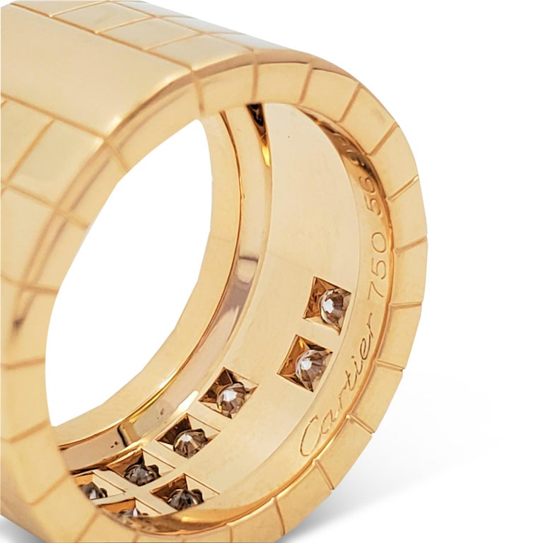 Cartier 'Lanières' Yellow Gold and Diamond Wide Band Ring For Sale 2