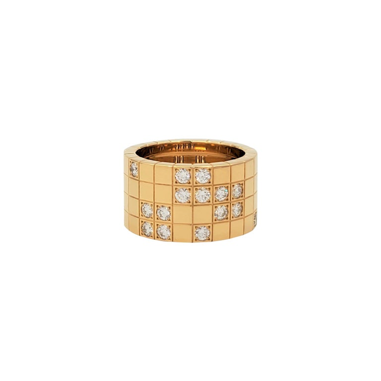 Cartier 'Lanières' Yellow Gold and Diamond Wide Band Ring For Sale