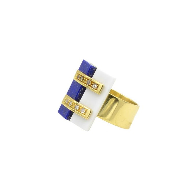 Cartier Lapis and White Coral Ring In Good Condition For Sale In Los Angeles, CA