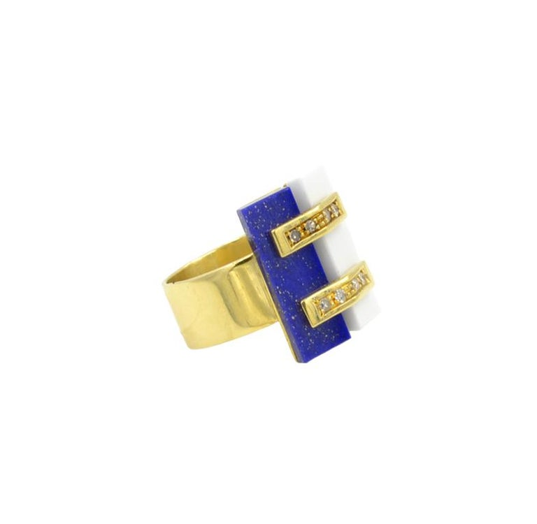 Women's Cartier Lapis and White Coral Ring For Sale