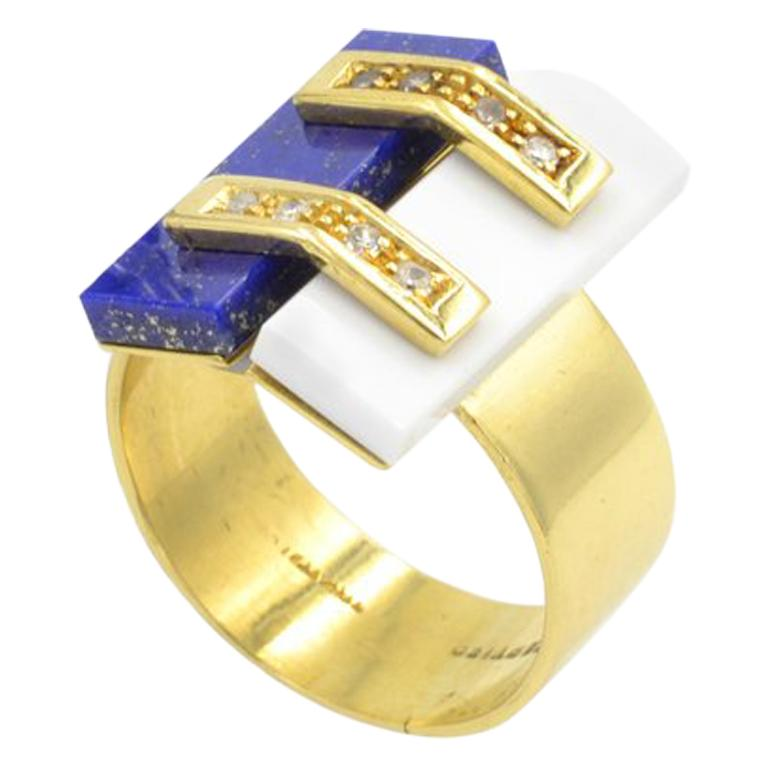 Cartier Lapis and White Coral Ring For Sale