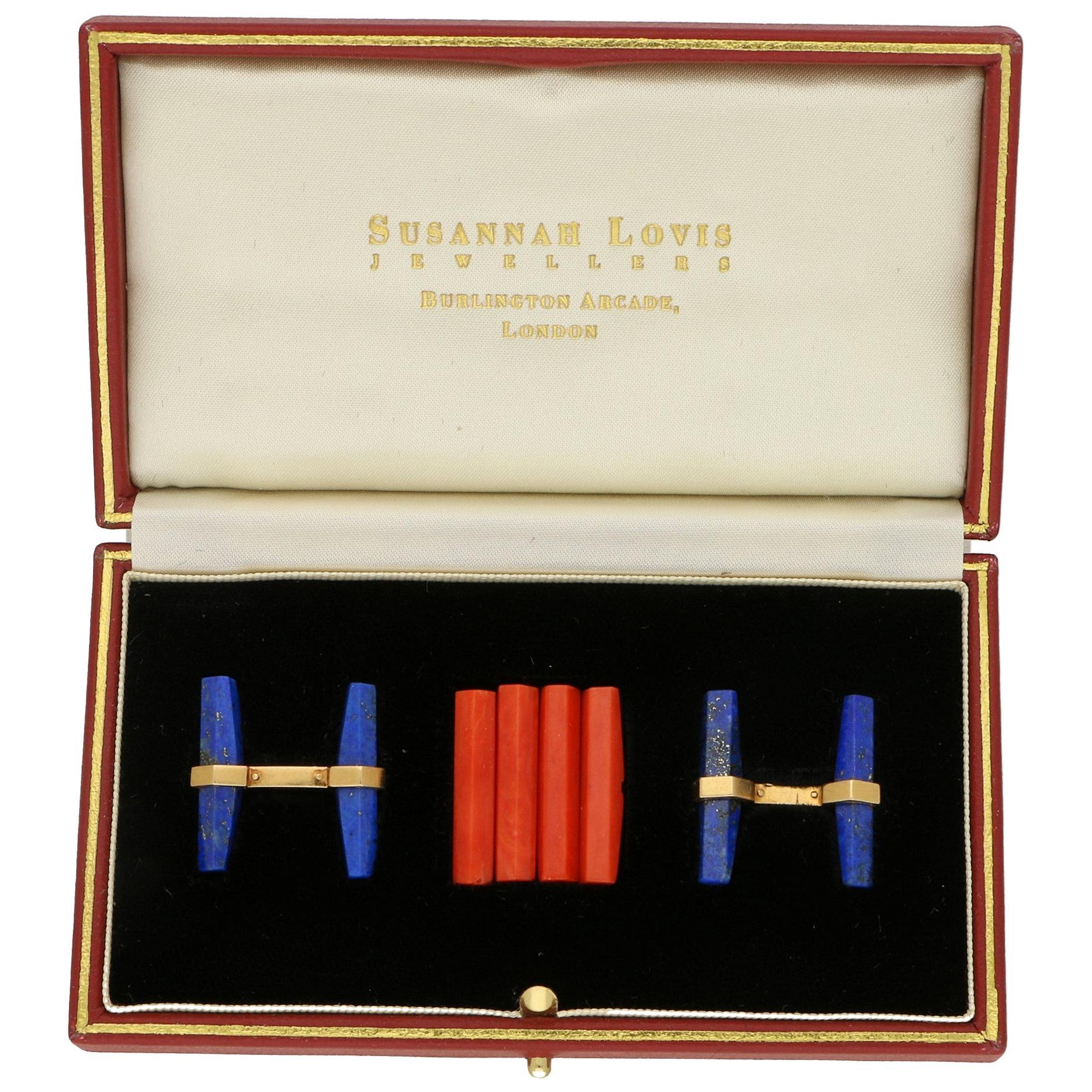 Cartier Lapis Lazuli and Coral Interchangeable Baton Cufflink Set