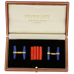 Cartier Lapis Lazuli and Coral Interchangeable Baton Cufflink Set