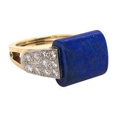 Cartier Lapis Lazuli and Diamond 18 Karat Yellow Gold Ring