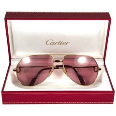 Cartier Laque de Chine Aviator Gold 59Mm Heavy Plated Sunglasses France