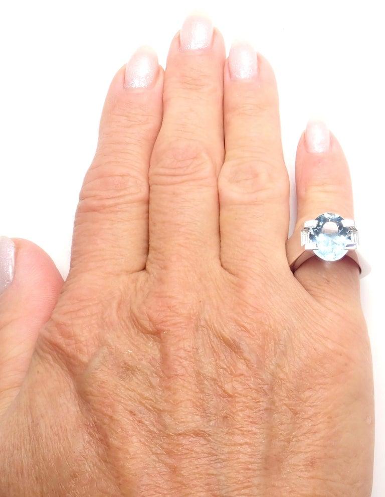Cartier Large Aquamarine Diamond White Gold Ring For Sale 2