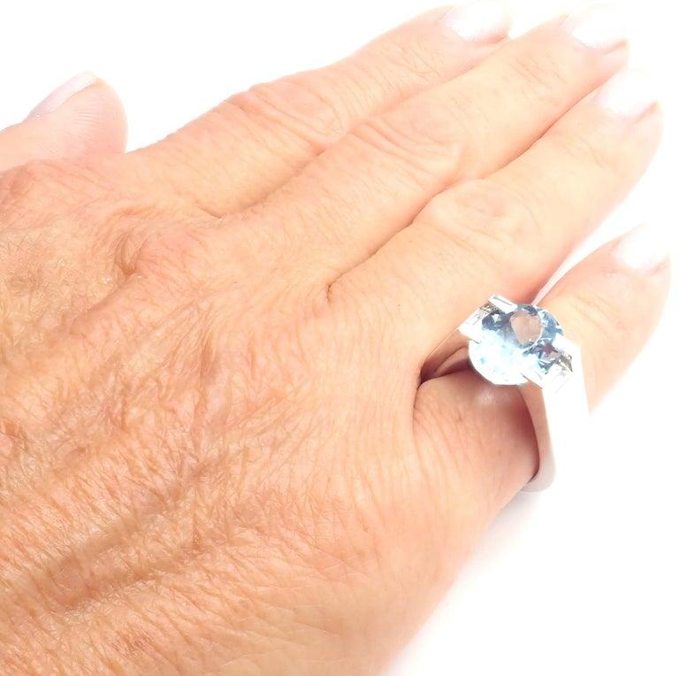 Cartier Large Aquamarine Diamond White Gold Ring For Sale 3