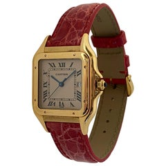 Cartier Large Panthere Watch 18 Karat Yellow Gold Leather Strap Quartz Date