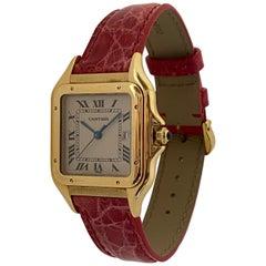 Cartier Large Panthere Watch 18 Karat Yellow Gold Leather Strap Quartz Date