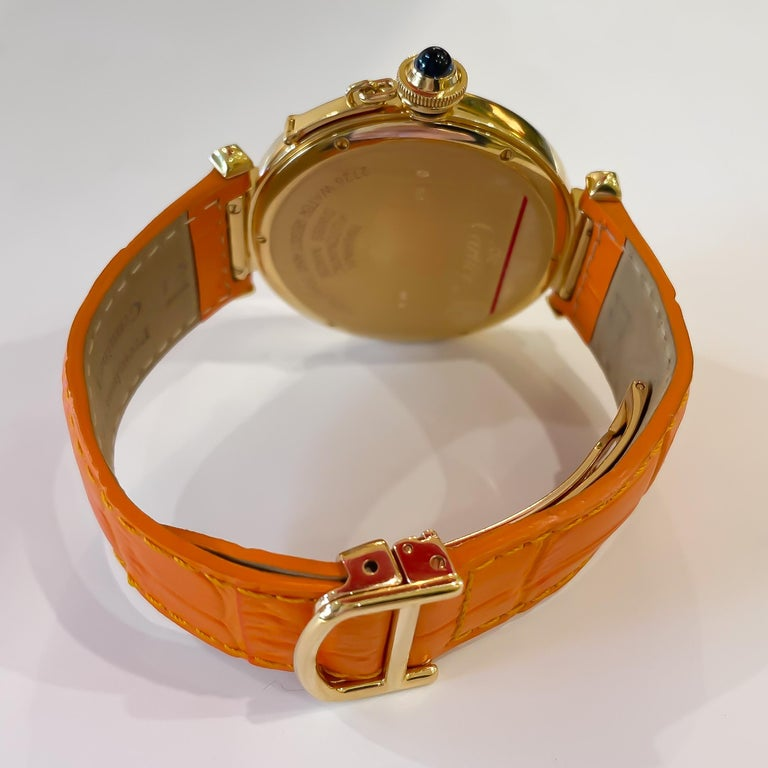 Cartier Large Pasha Automatic 18 Karat Yellow Gold Watch In Excellent Condition For Sale In Carmel-by-the-Sea, CA
