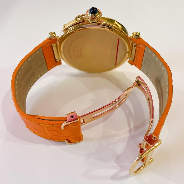 Women's or Men's Cartier Large Pasha Automatic 18 Karat Yellow Gold Watch For Sale