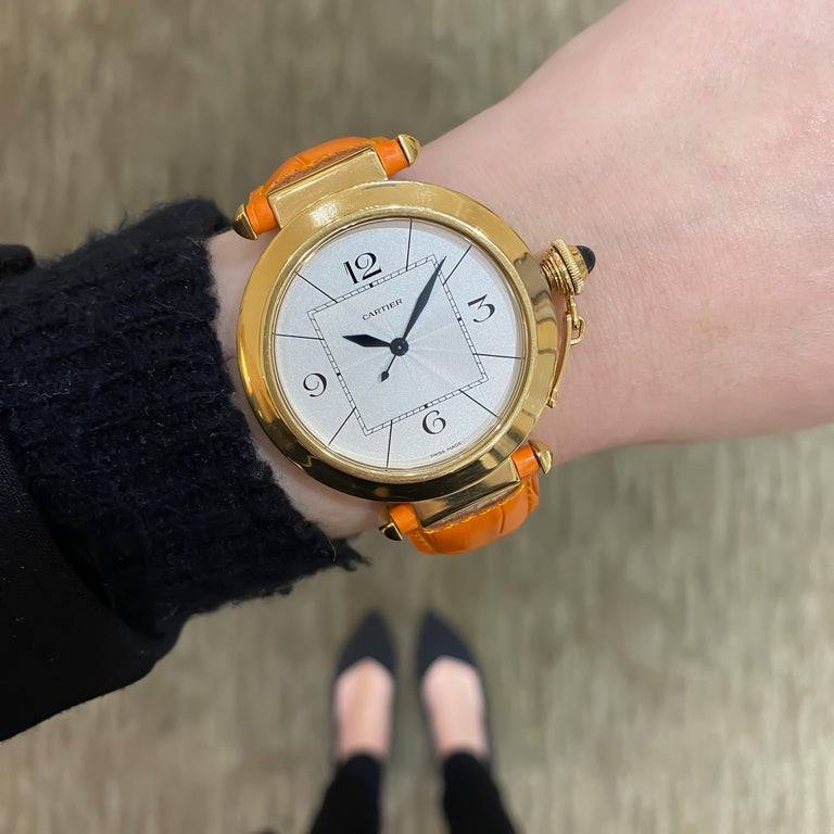 Cartier Large Pasha Automatic 18 Karat Yellow Gold Watch For Sale 2