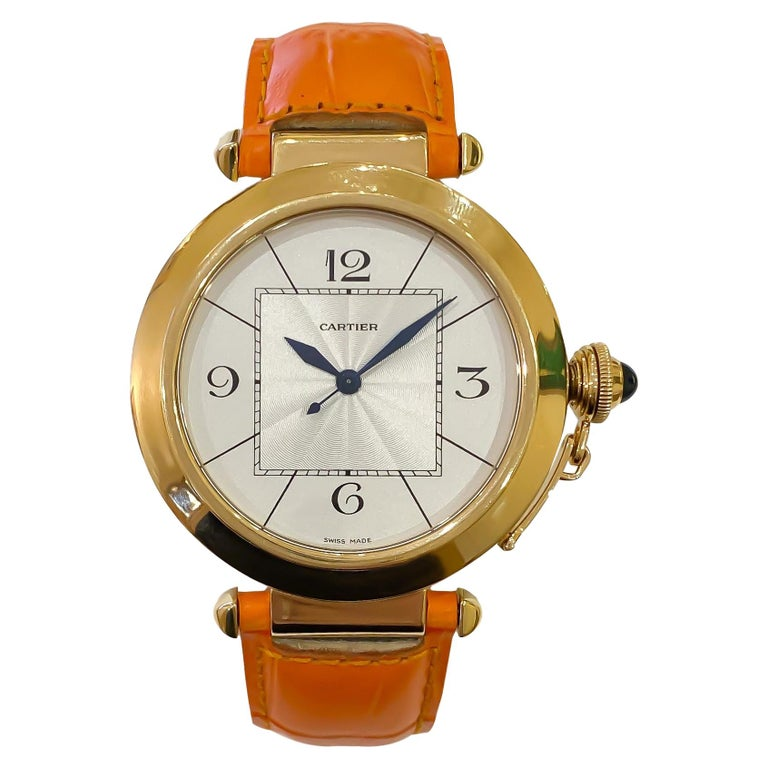 Cartier Large Pasha Automatic 18 Karat Yellow Gold Watch For Sale