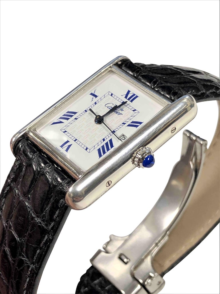 Cartier Large Sterling Calendar Classic Tank Quartz Wristwatch In Excellent Condition In Chicago, IL