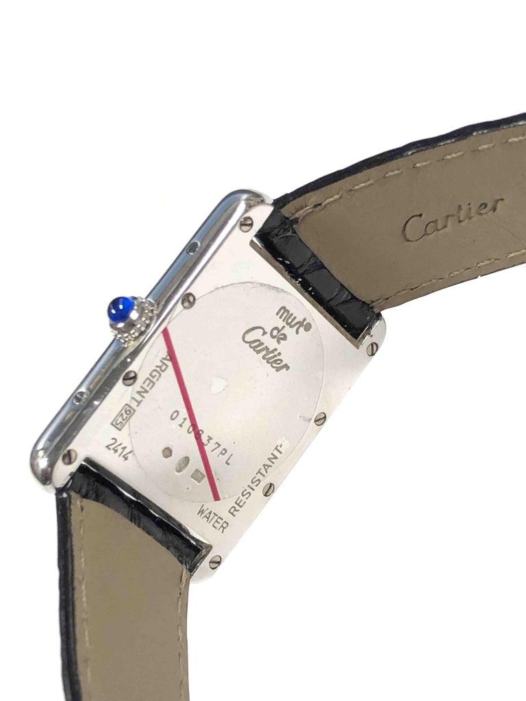 Women's or Men's Cartier Large Sterling Calendar Classic Tank Quartz Wristwatch