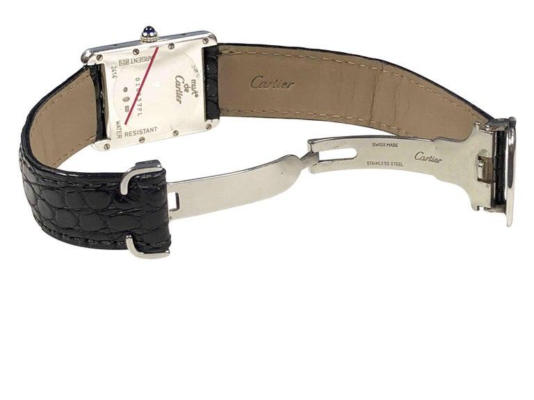 Cartier Large Sterling Calendar Classic Tank Quartz Wristwatch 2
