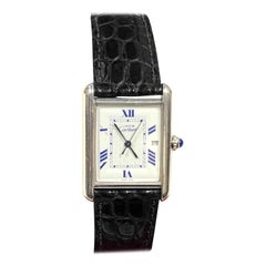 Cartier Large Sterling Calendar Classic Tank Quartz Wristwatch