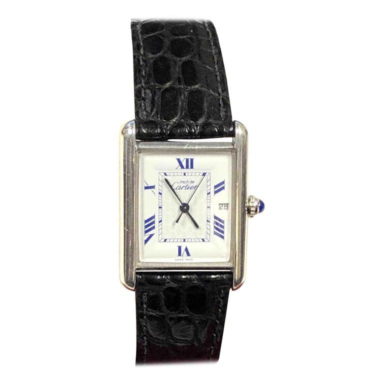 Cartier Large Sterling Calendar Classic Tank Quartz Wristwatch