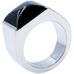 Cartier Large Tank 18 Karat White Gold Black Onyx Ring