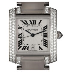 Cartier Large Tank Francaise White Gold Silver Dial Diamond Set WE1003SF