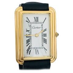 Cartier Large White Roman Dial 18 Karat Gold Watch