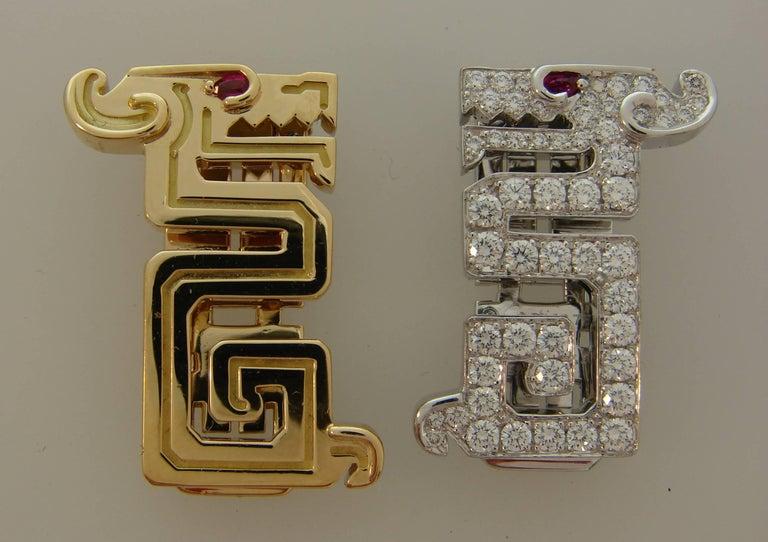 Women's or Men's Cartier Le Baiser Du Dragon Diamond Ruby Gold Clip Pair