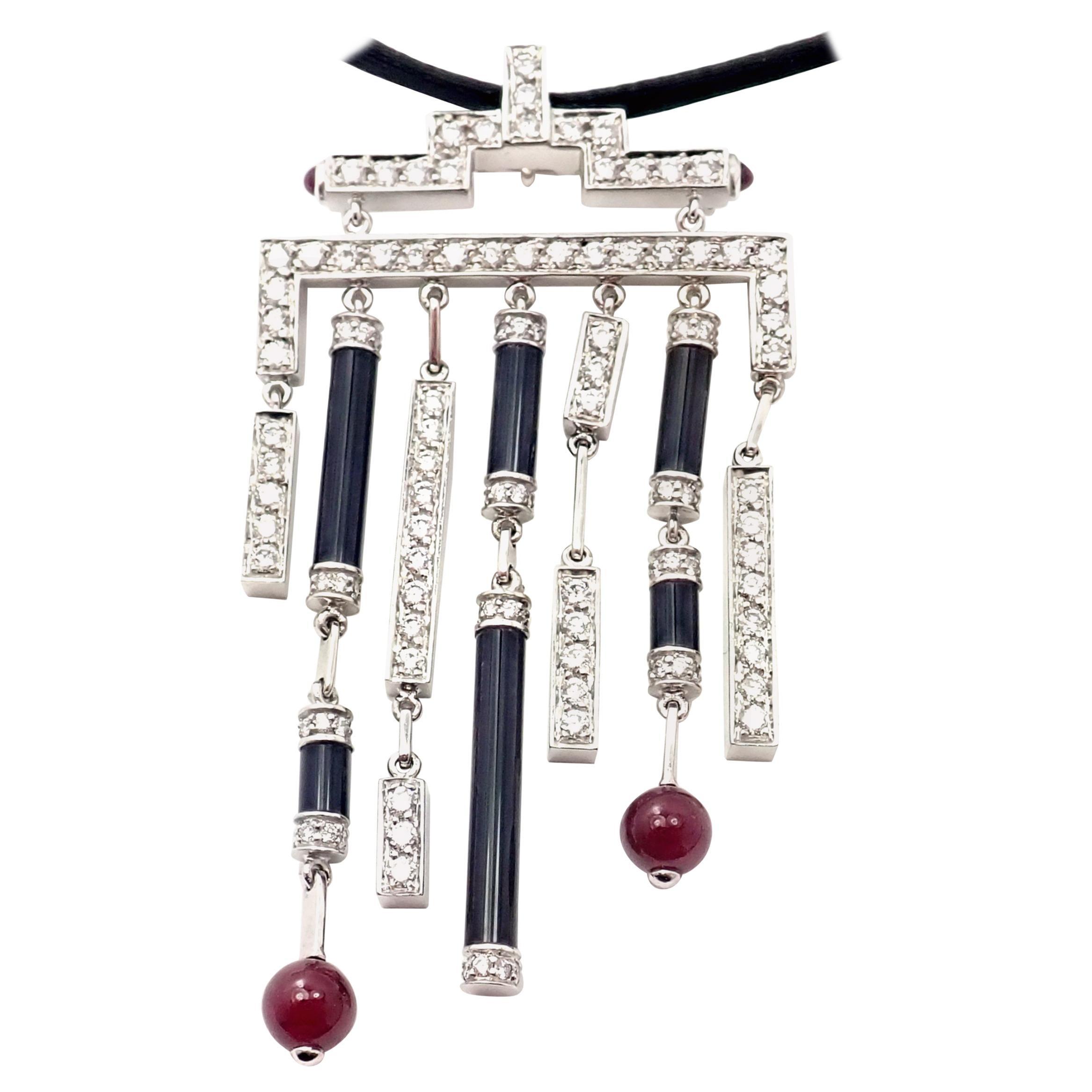 Cartier Le Baiser Du Dragon Onyx Ruby Diamond Gold Pendant Necklace