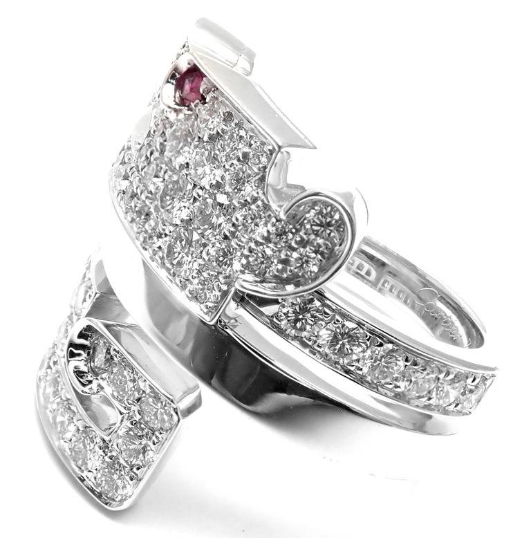 Cartier Le Baiser Du Dragon Ruby Diamond Gold Ring For Sale 1