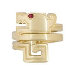 Cartier Le Basier Du Dragon Ruby Eye Yellow Gold Ring