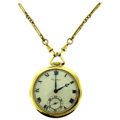 Cartier Le Coultre European Movement Pocket Watch in Yellow Gold with Chain