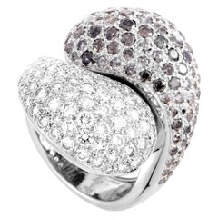 Cartier Le Yin et Le Yang 18 Karat White Gold Diamond Pave Ring