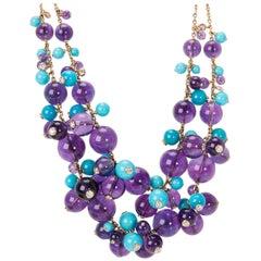 Cartier Les Delices de Goa Amethyst, Turquoise & Diamond Necklace in 18K Gold