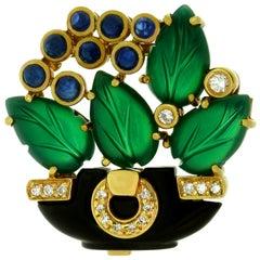 Cartier Les Indes Galantes Agate Onyx Sapphire Diamond Floral Brooch