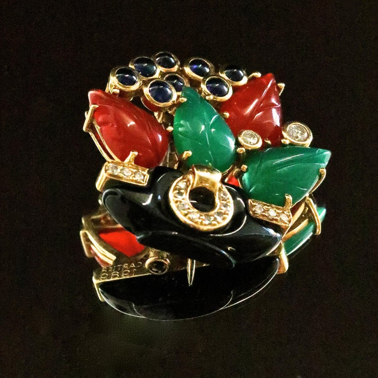 Cartier Les Indes Galantes Onyx Diamond Carnelian Chrysophrase Sapphire Brooch In Good Condition For Sale In Beverly Hills, CA