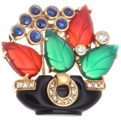 Cartier Les Indes Galantes Onyx Diamond Carnelian Chrysophrase Sapphire Brooch