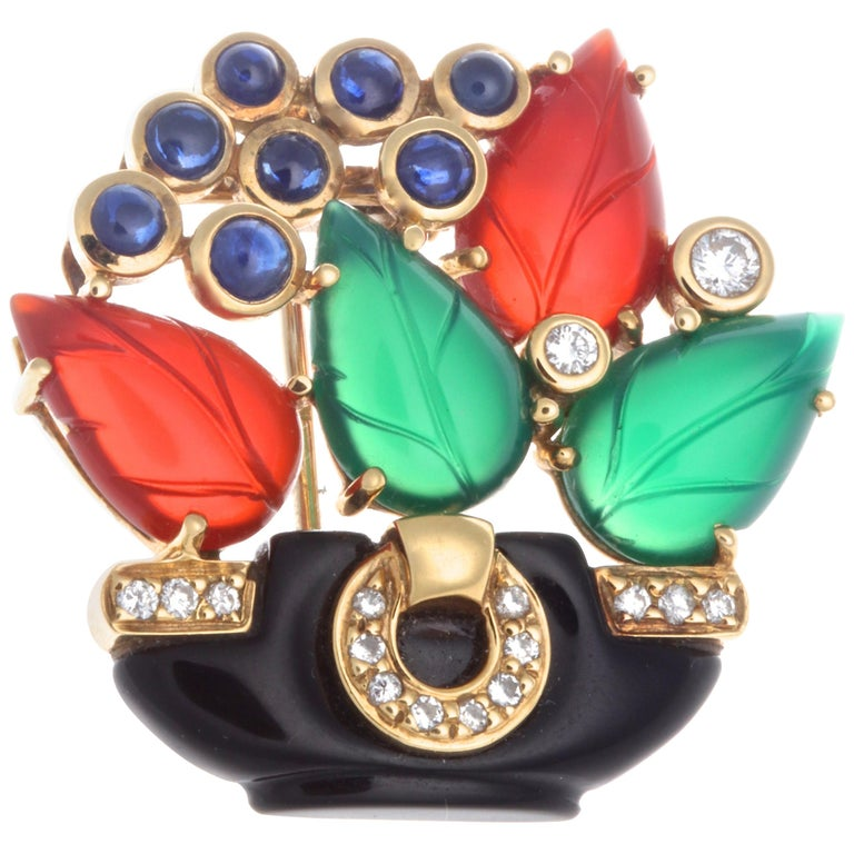 Cartier Les Indes Galantes Onyx Diamond Carnelian Chrysophrase Sapphire Brooch For Sale