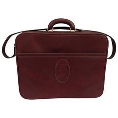 Cartier Les Must de Cartier Burgundy Leather Travel Overnight Suitcase / Luggage