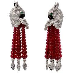 Cartier Les Oiseaux Liberes Earrings Parrot Ruby Diamond Tassel 18 Karat