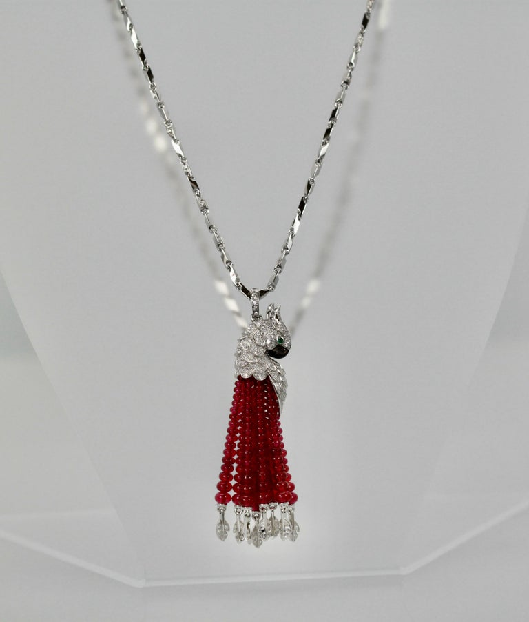 Cartier Les Oiseaux Liberes Ruby Diamond Necklace, Parrot For Sale 4