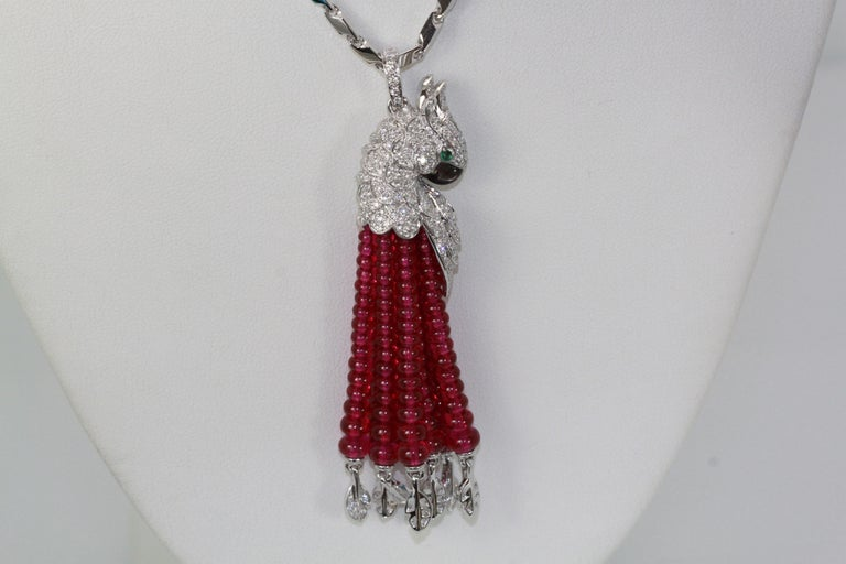 Cartier Les Oiseaux Liberes Ruby Diamond Necklace, Parrot For Sale 5