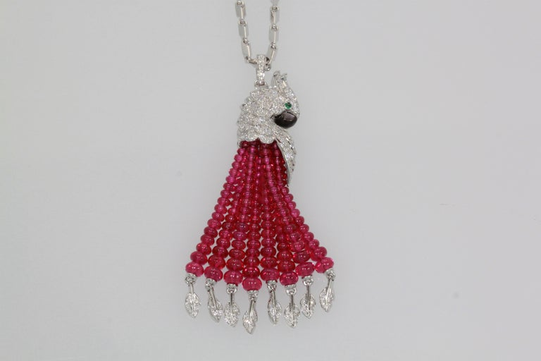 Anglo-Indian Cartier Les Oiseaux Liberes Ruby Diamond Necklace, Parrot For Sale