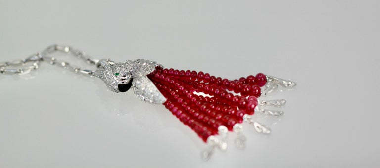 Cartier Les Oiseaux Liberes Ruby Diamond Necklace, Parrot In New Condition For Sale In North Hollywood, CA