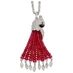 Cartier Les Oiseaux Liberes Ruby Diamond Necklace, Parrot