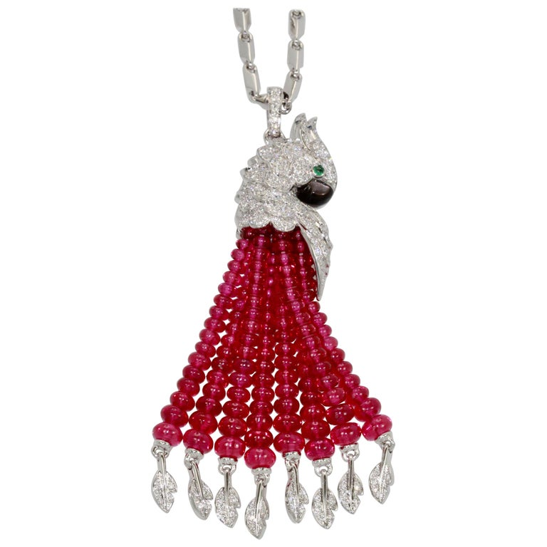 Cartier Les Oiseaux Liberes Ruby Diamond Necklace, Parrot For Sale