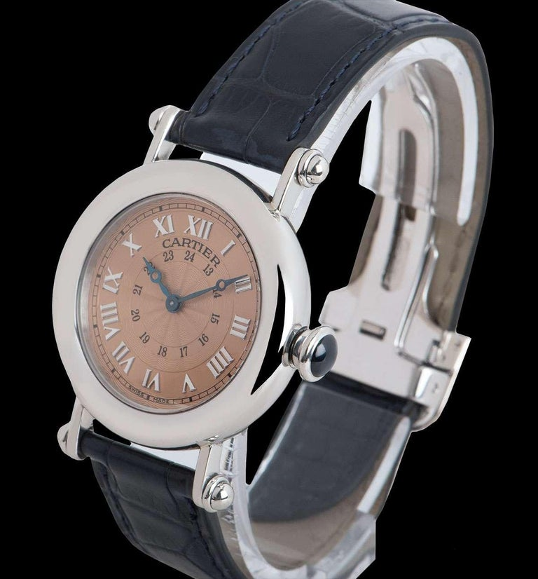 Cartier Limited Edition Diabolo Mid-Size Platinum Salmon Guilloche Dial In Excellent Condition For Sale In London, GB