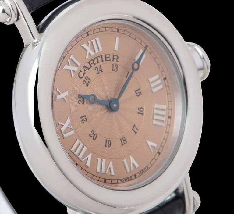 Women's or Men's Cartier Limited Edition Diabolo Mid-Size Platinum Salmon Guilloche Dial For Sale