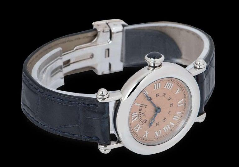 Cartier Limited Edition Diabolo Mid-Size Platinum Salmon Guilloche Dial For Sale 1