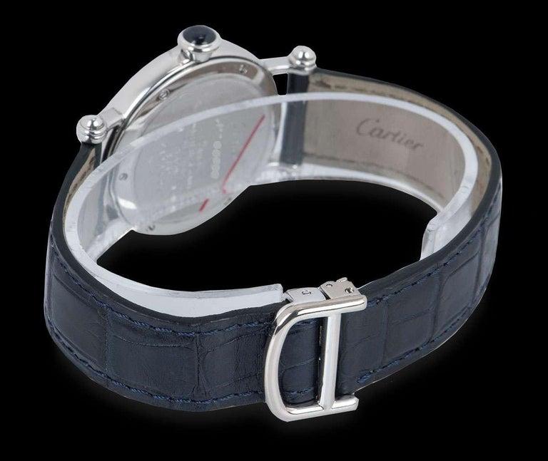 Cartier Limited Edition Diabolo Mid-Size Platinum Salmon Guilloche Dial For Sale 2
