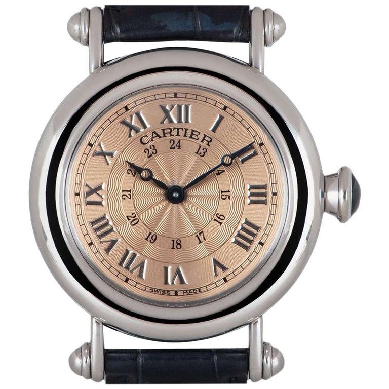 Cartier Limited Edition Diabolo Mid-Size Platinum Salmon Guilloche Dial For Sale