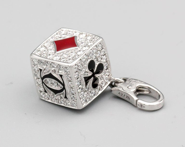 Cartier Limited Edition Diamond and Enamel Playing Card Suite Charm In Excellent Condition In New York, NY